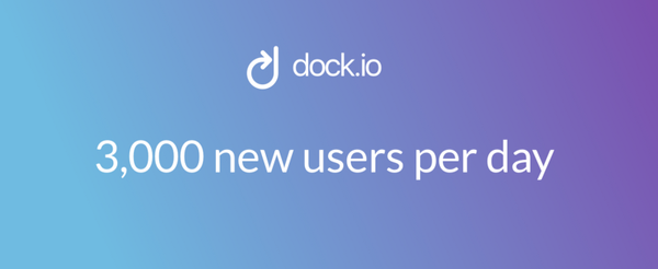 The dock.io App is growing by more than 3,000 new users a day
